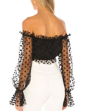 Mesh perspective dot off shoulder Lantern Sleeve Top