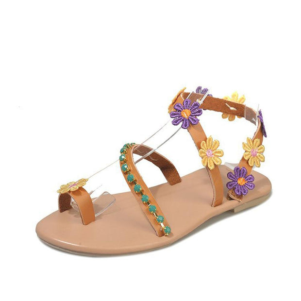 Flat bottom casual sandals women's feet Flower Toe beach shoes women's shoes