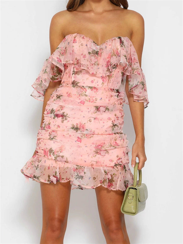 Pink floral off the shoulder dress