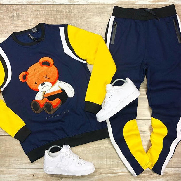 Blue yellow fashion bear suit