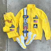 Old school bright yellow print suit