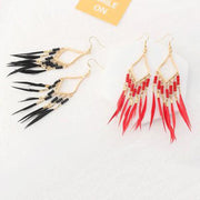 Bohemian national style, tassel, diamond earrings, romantic beach accessories