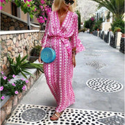 Glamorous Green V-Neck 3/4 Sleeve Printed Maxi Vacation Dress