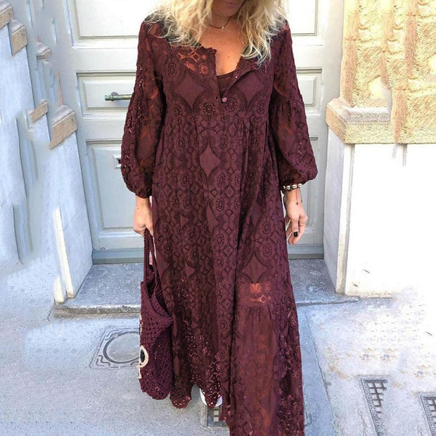 Lace Panel sexy hollow large dress