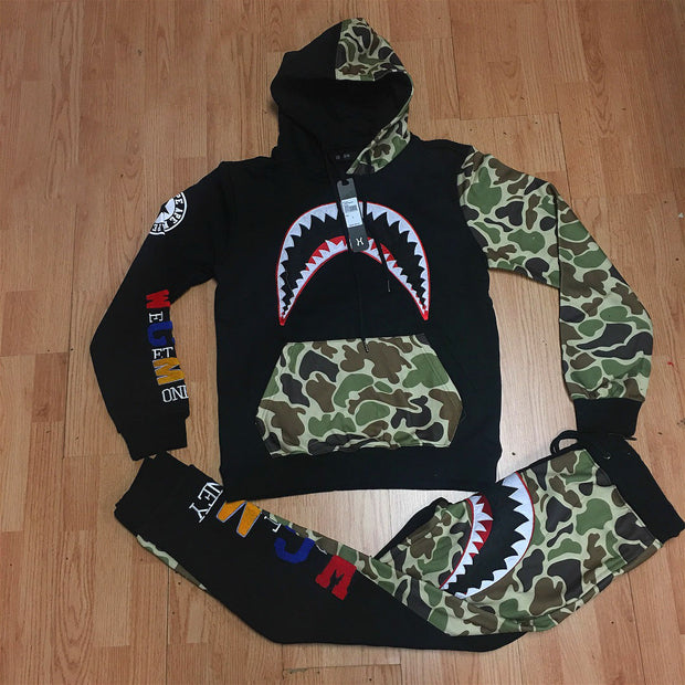 Black fashion shark print camouflage Hoodie suit