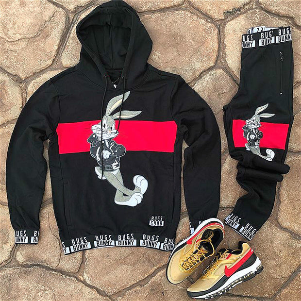 Lovely rabbit red and black hooded sweater suit