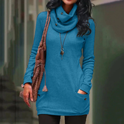 Long sleeve sweater with high collar and slotted pocket