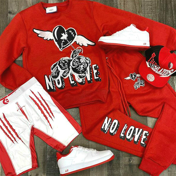 NO LOVE bear sweatshirt set-RED
