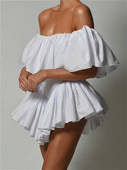 Ruffle design off the shoulder multi-layer dress