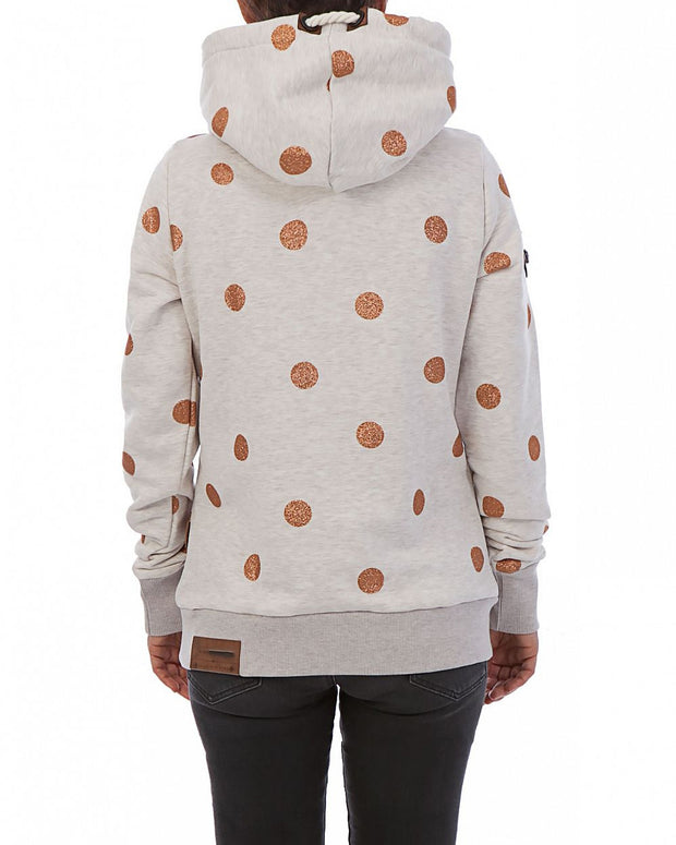High neck drawstring hooded warm wave point printed sweater