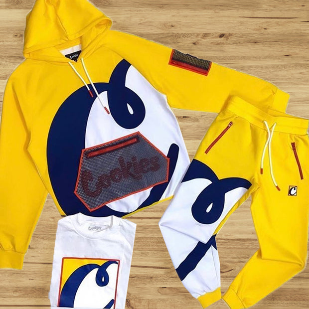 Yellow white and blue matching fashion Hoodie suit
