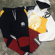 Hustle gang fashion color matching sports suit