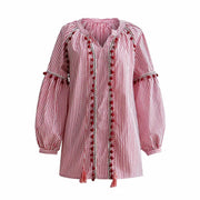 Bohemian fringe ball shirt loose Lantern Sleeve Stripe Shirt