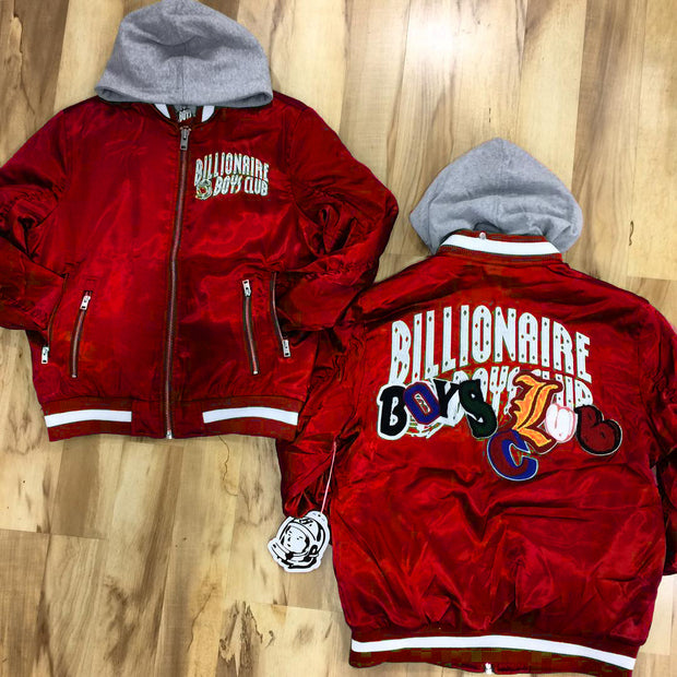 Fashionable red Billionaire Boys Club print thermal jacket