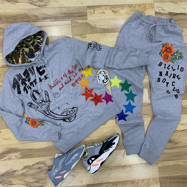 Graffiti printed sports suit