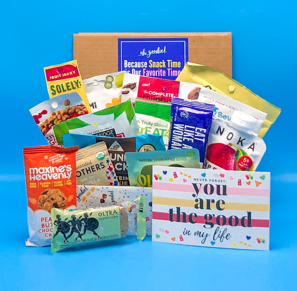 This plant-based Oh Goodie! snack box is filled with plant-based snacks. Many snacks also tend to be gluten-free, vegan and overall healthier. Great for gifts or to help with your healthy diet. Get sent directly to your home or office snack delivery