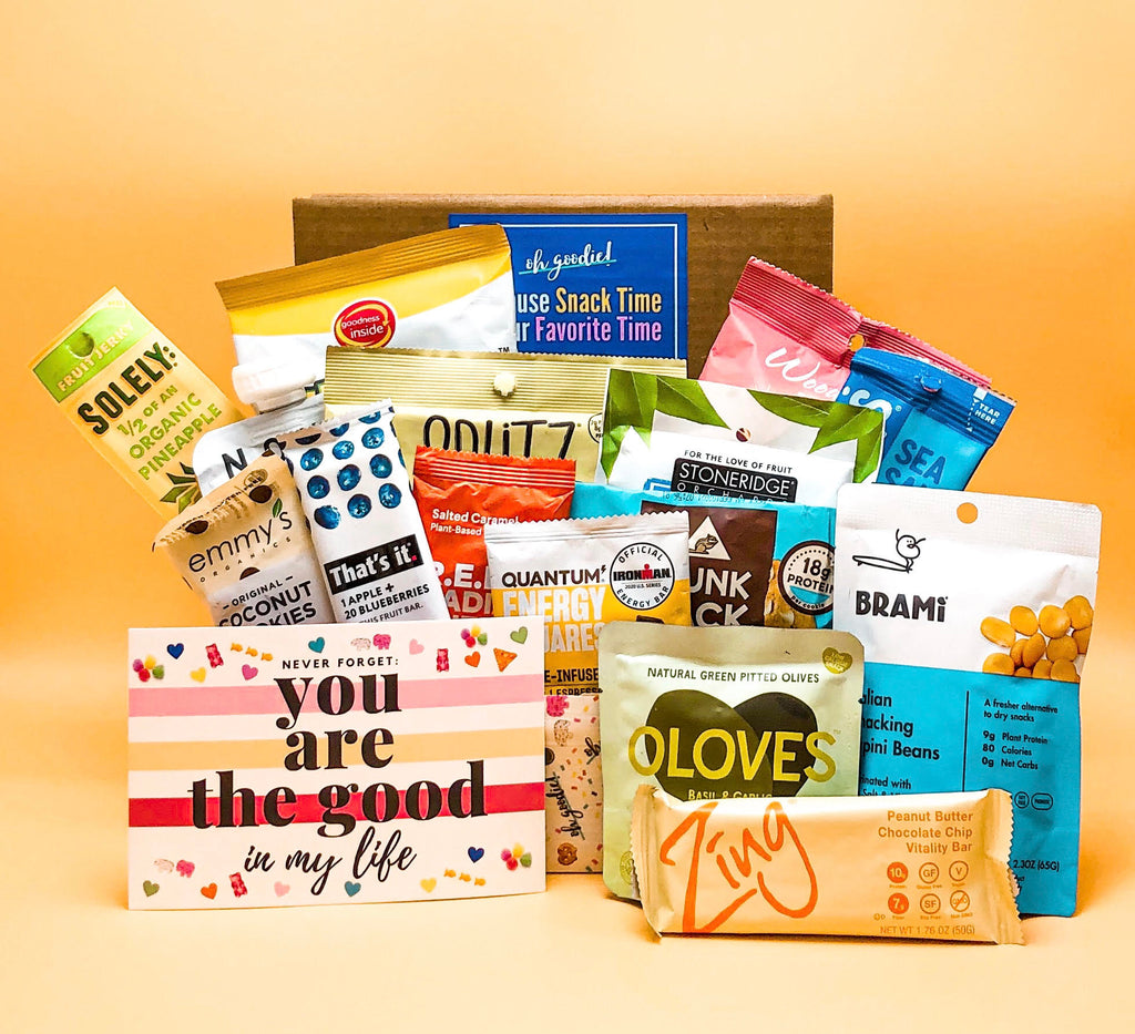 This vegan snack box from Oh Goodie! is a snack box filled with all vegan snacks. Many snacks also tend to be gluten-free, plant-based and overall healthy. Great as a corporate gift, thank you gift or as a subscription that you get delivered monthly.