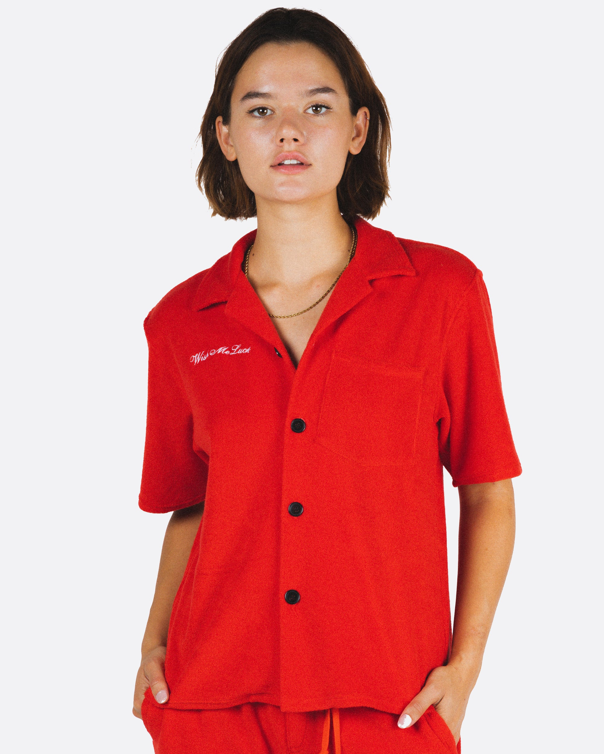 Terry Cloth Button Up