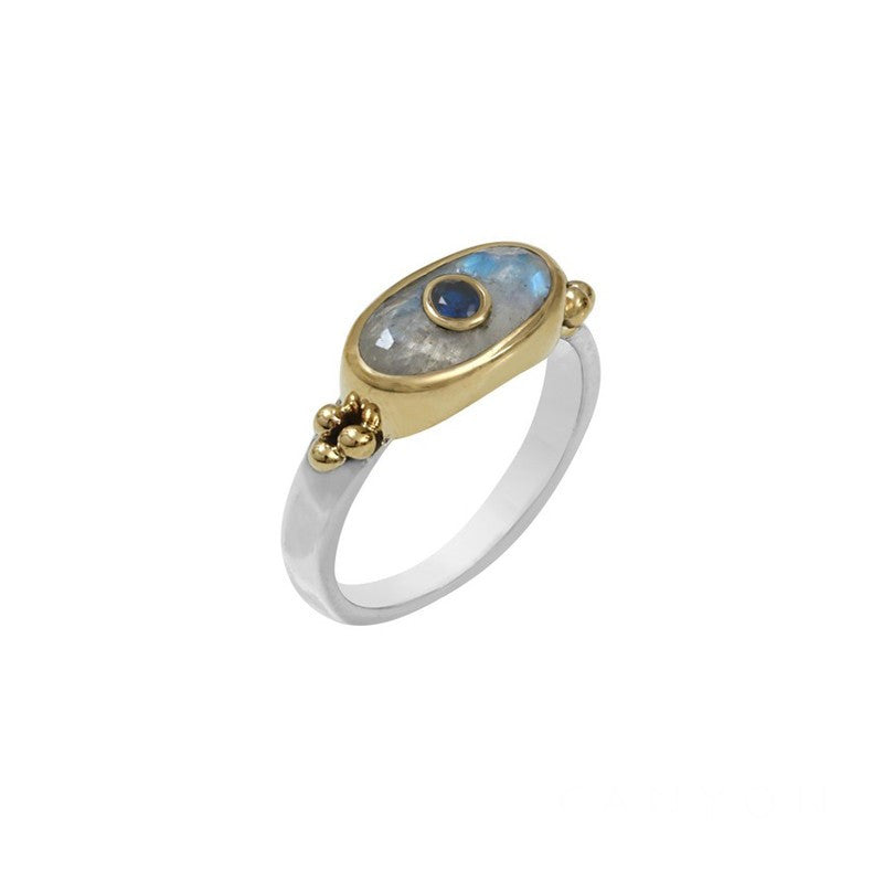 BAGUE fine argent - rectangle Pierre de Lune et silimanite bleue