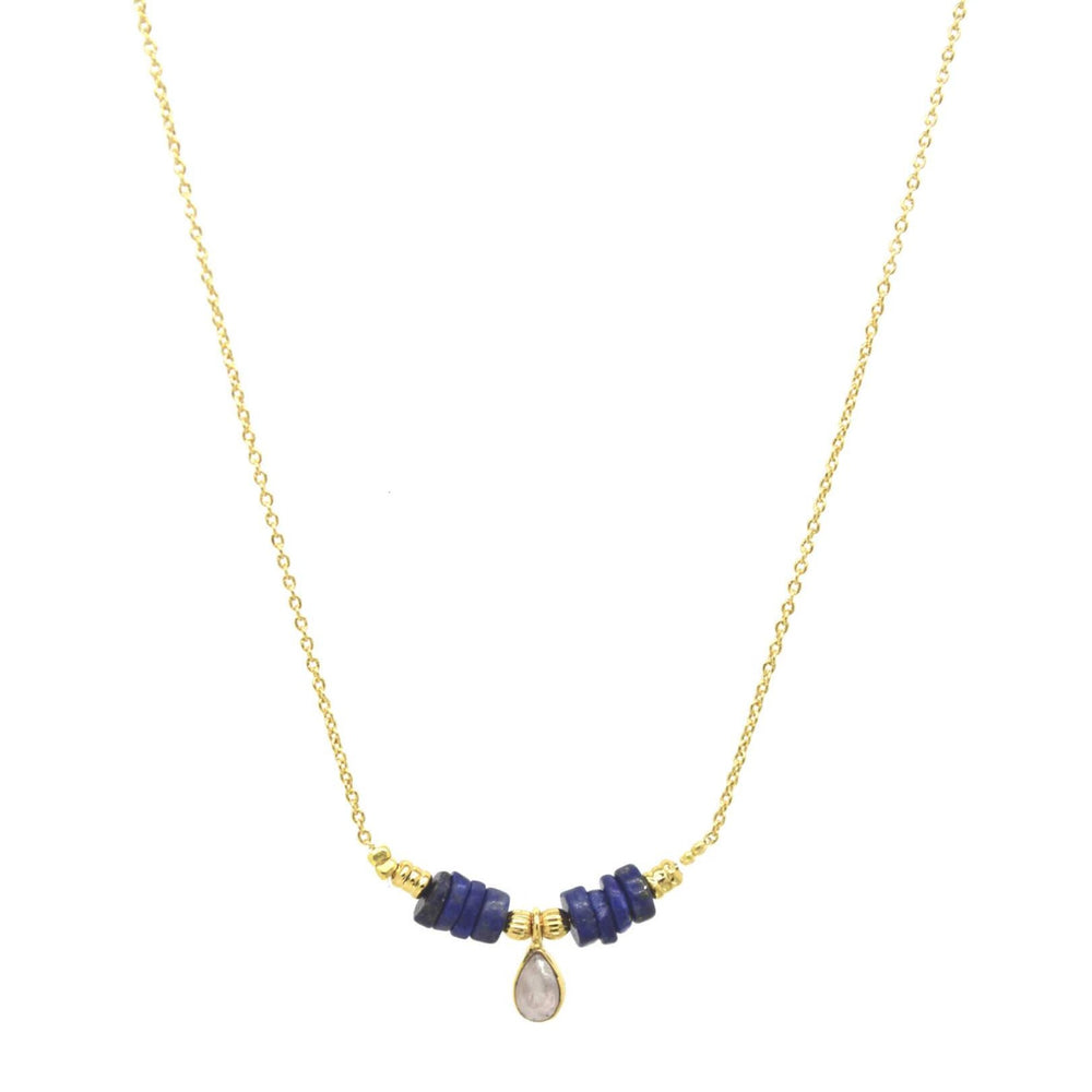 Collier DROP precious - Quart rose et Lapis Lazulli