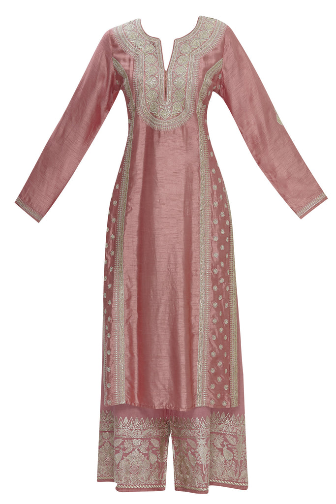 Musafar Pink Tunic Set With Palazzo Pants-Palazzo Set-Gopi Vaid Designs