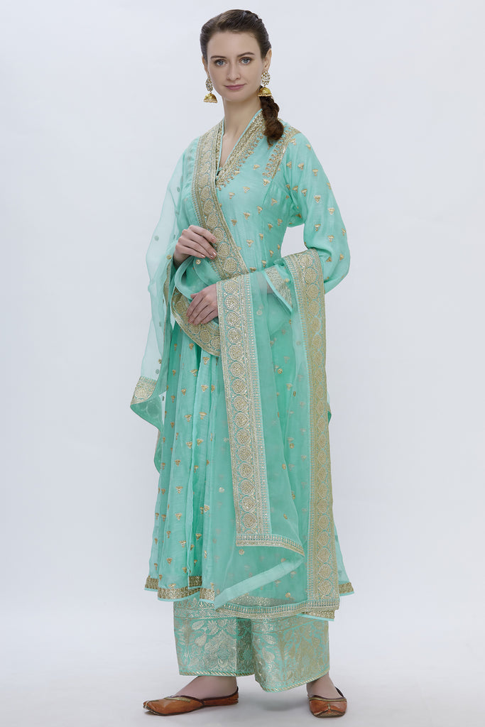 Meera Teal Tunic Set-Palazzo Set-Gopi Vaid Designs