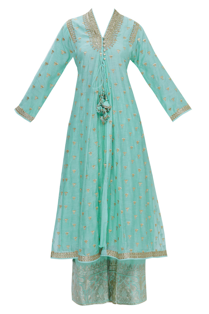 Meera Tunic Set- Teal-Palazzo Set-Gopi Vaid Designs