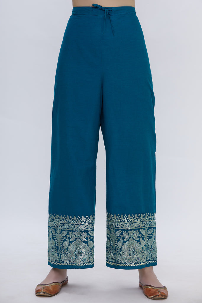 Musafar Teal Tunic Set With Palazzo Pants-Palazzo Set-Gopi Vaid Designs
