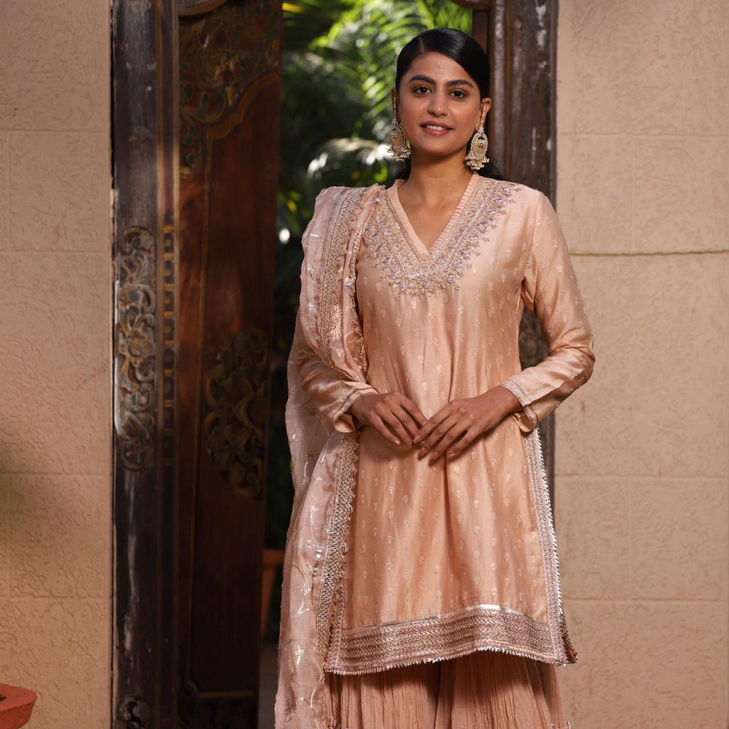 Masoom Minawala in Shalimar Sharara Set- Peach-Sharara Set-Gopi Vaid Designs