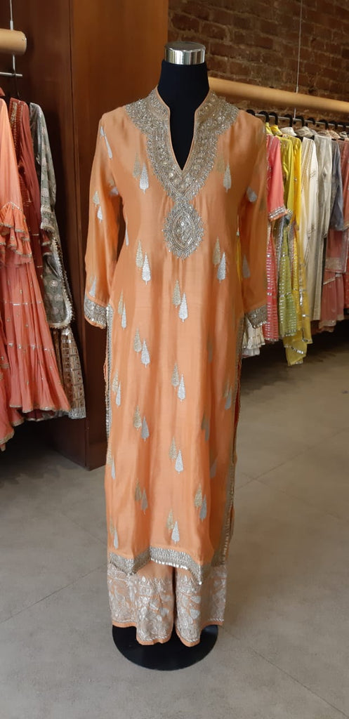 Rani Tunic and Palazzo- Orange-Tunic Set-Gopi Vaid Designs