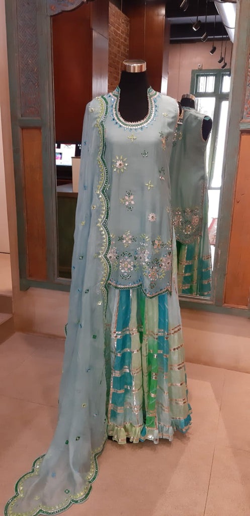 Mela Sharara Set Sleeveless- Blue-Sharara Set-Gopi Vaid Designs
