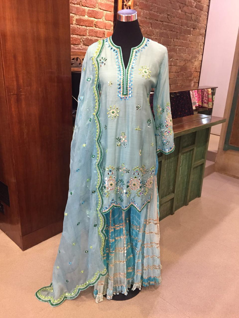 Mela Set - Blue-Sharara Set-Gopi Vaid Designs