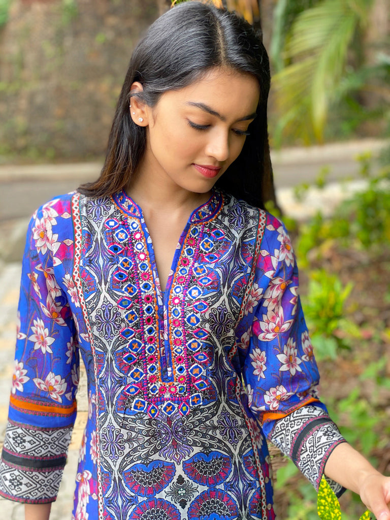 Lotus Tunic- Cobalt Blue-Tunic-Gopi Vaid Designs