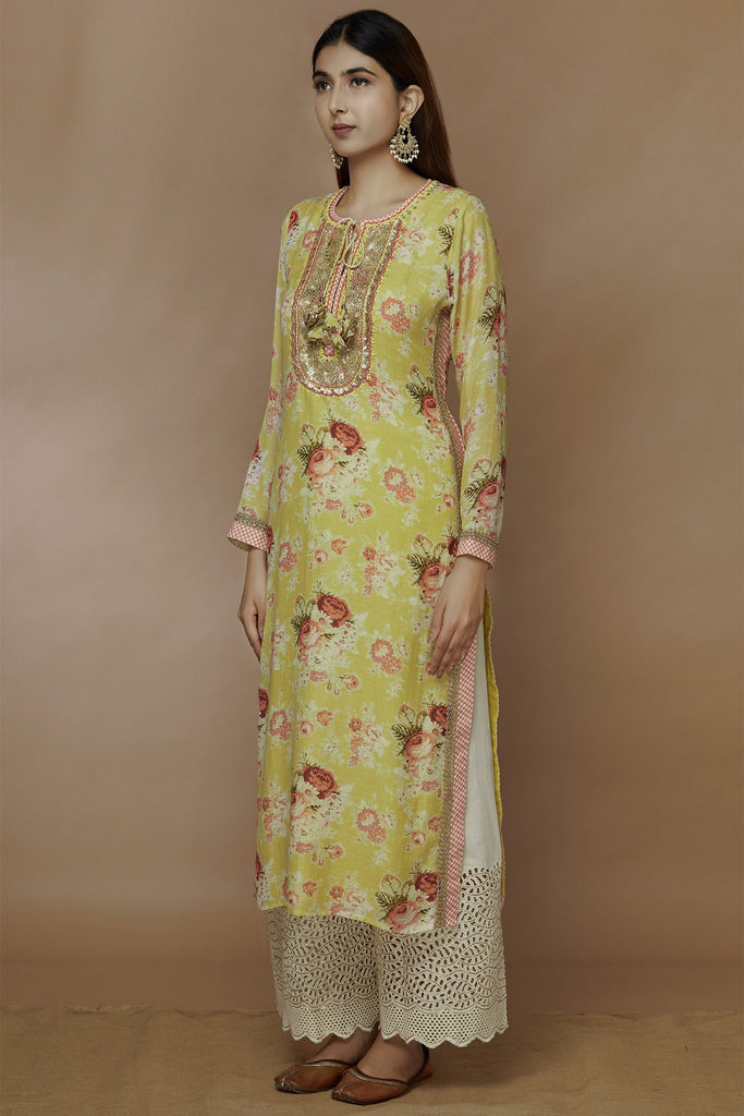 Bagh Tunic - Yellow-Kurta-Gopi Vaid Designs
