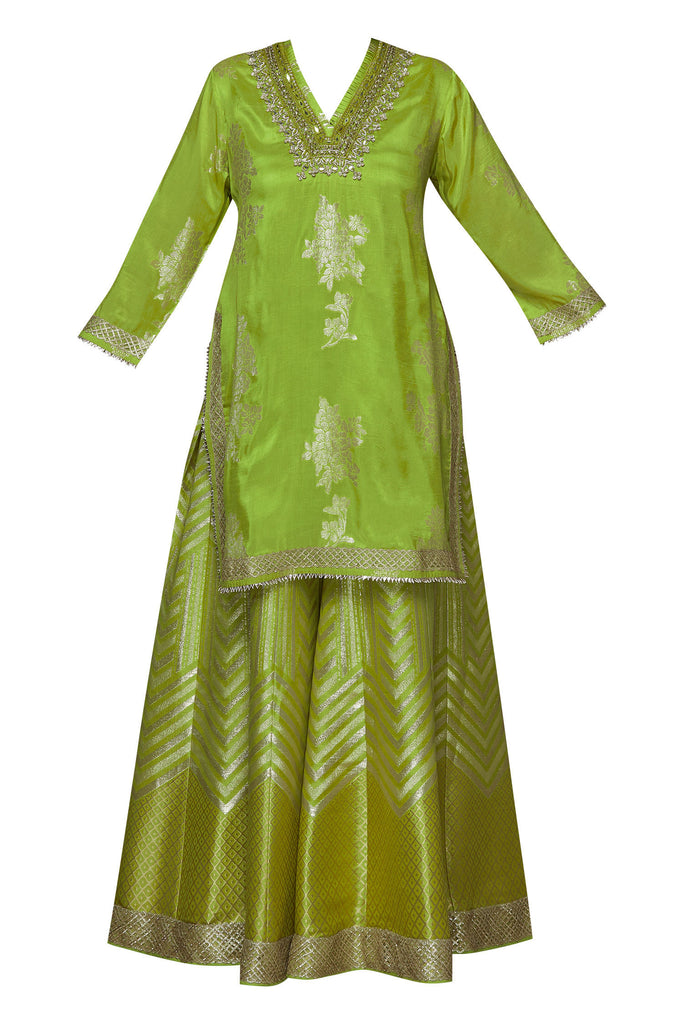 Qutub Sharara Set- Lime-Sharara Set-Gopi Vaid Designs