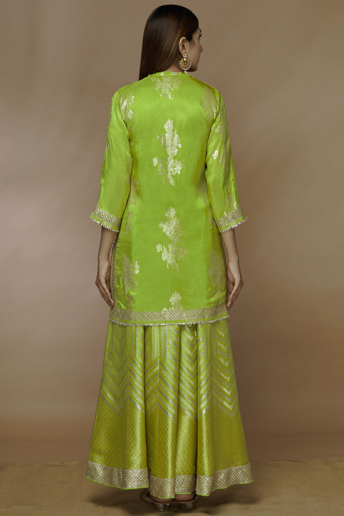 Qutub Lime Sharara Set-Sharara Set-Gopi Vaid Designs