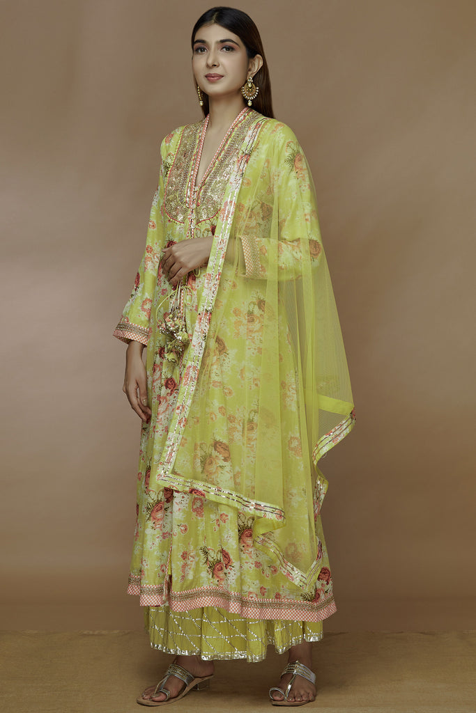 Bagh Sharara Set - Yellow-Sharara Set-Gopi Vaid Designs