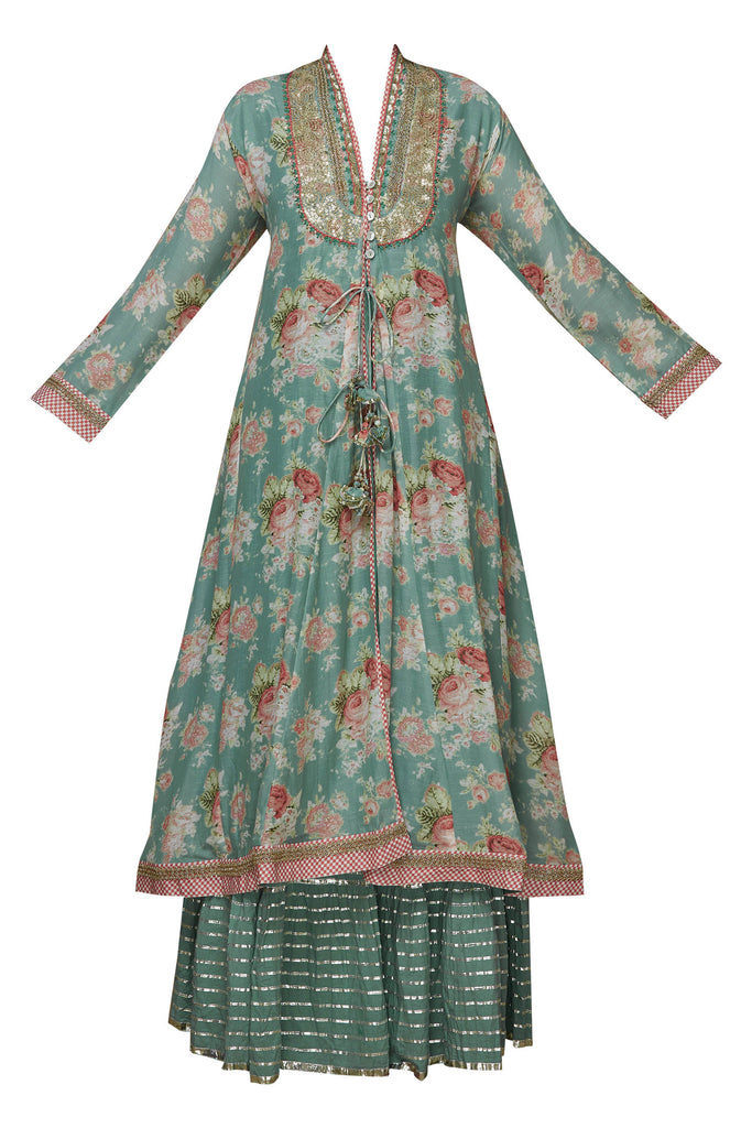 Bagh Sharara Set - Sea Green-Sharara Set-Gopi Vaid Designs