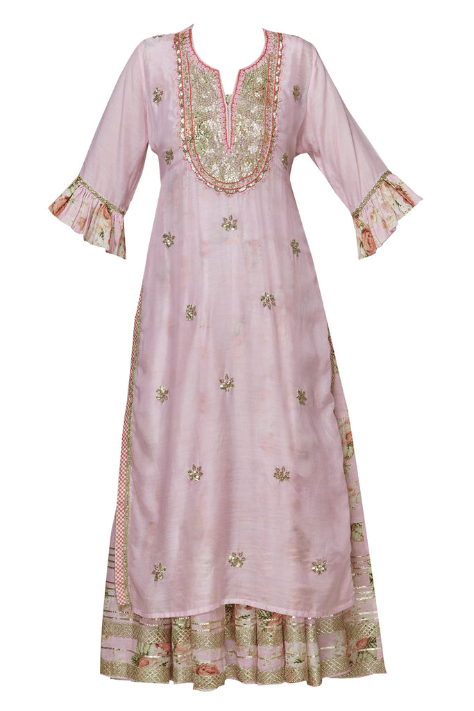 Bagh Two Layer Set - Pink-Garara Set-Gopi Vaid Designs