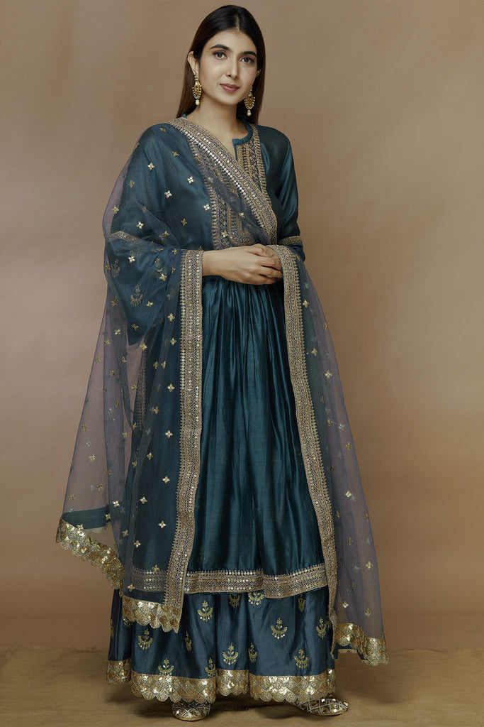 Chandbali Blue Tunic Set With Sharara-Sharara Set-Gopi Vaid Designs