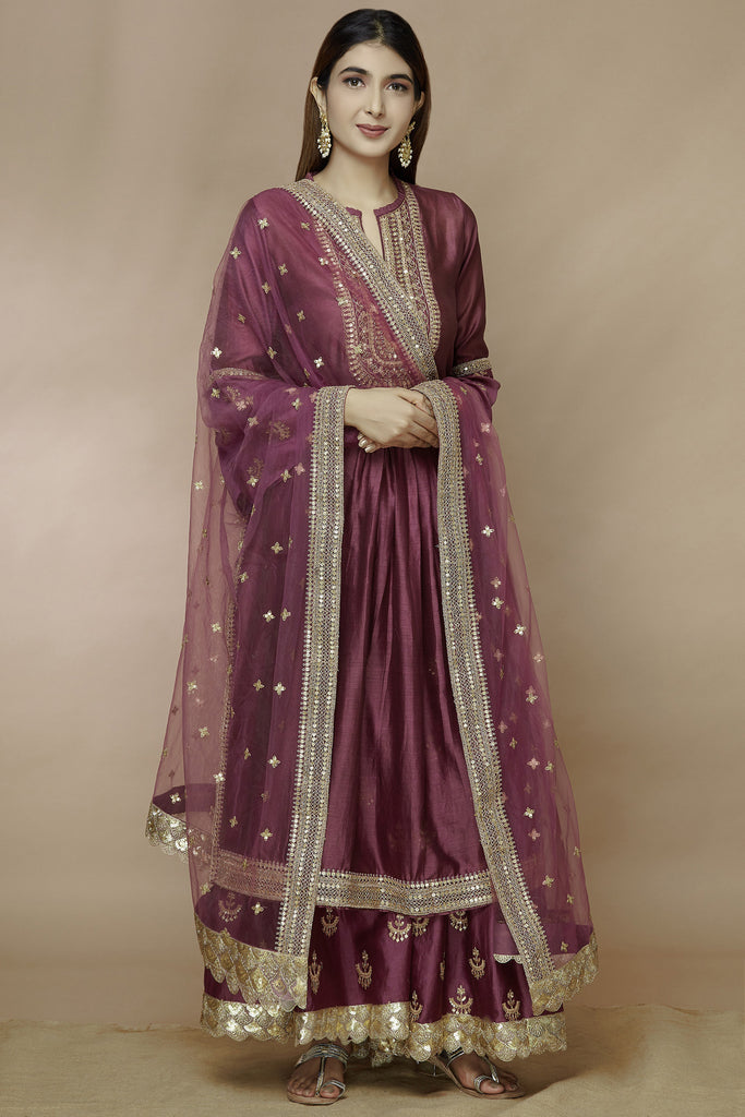 Chandbali Tunic Set With Sharara - Pink-Sharara Set-Gopi Vaid Designs