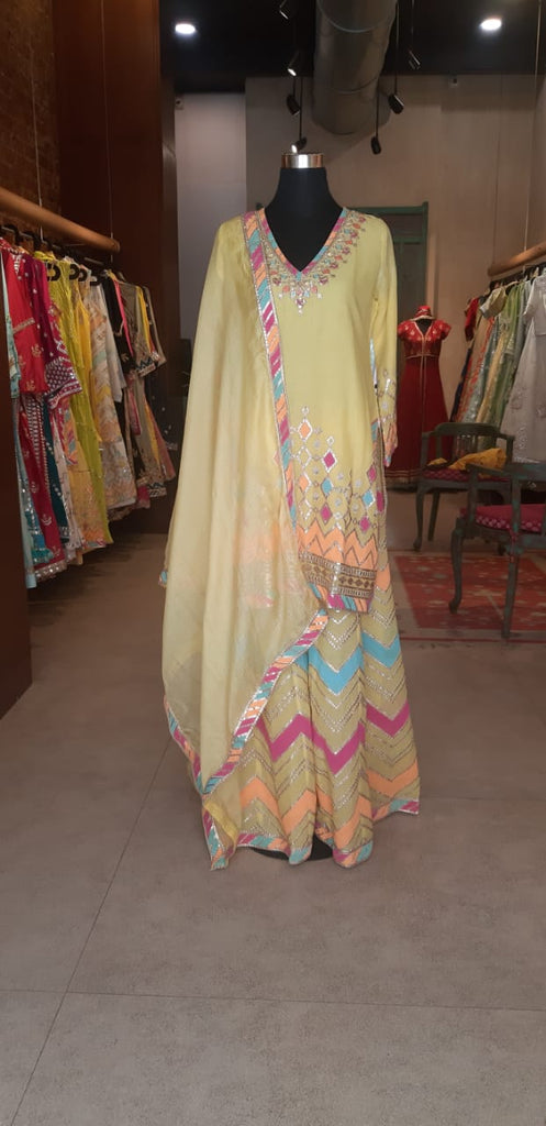 Rangeela Sharara Set- Yellow-Sharara Set-Gopi Vaid Designs