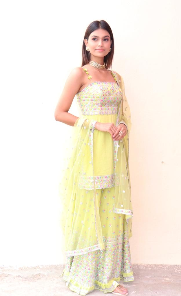 Suman Rao In Noor Lime Strappy Sharara Set-Sharara Set-Gopi Vaid Designs