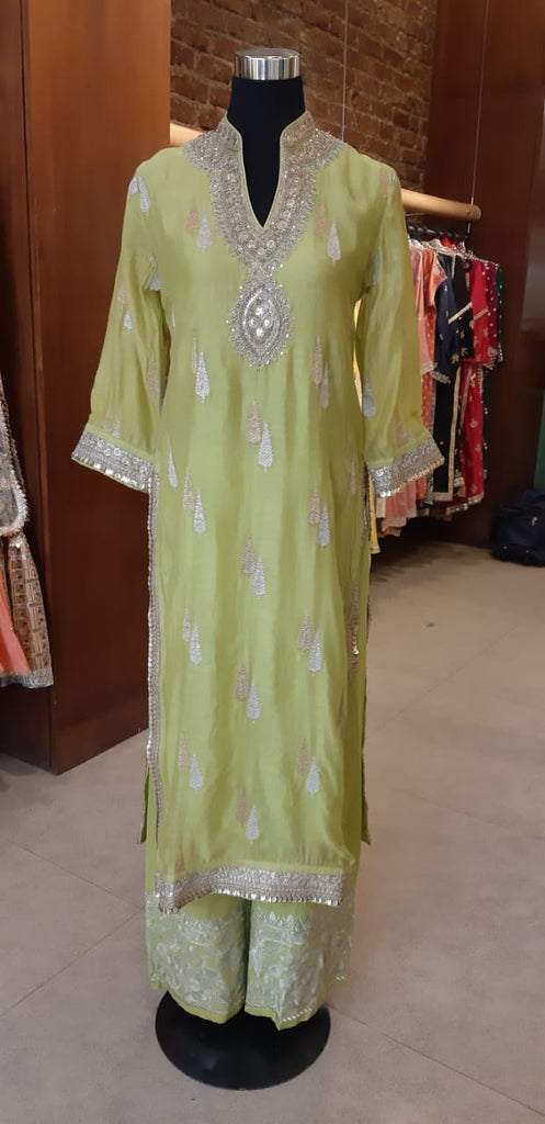 Rani Tunic and Palazzo- Lime-Tunic Set-Gopi Vaid Designs
