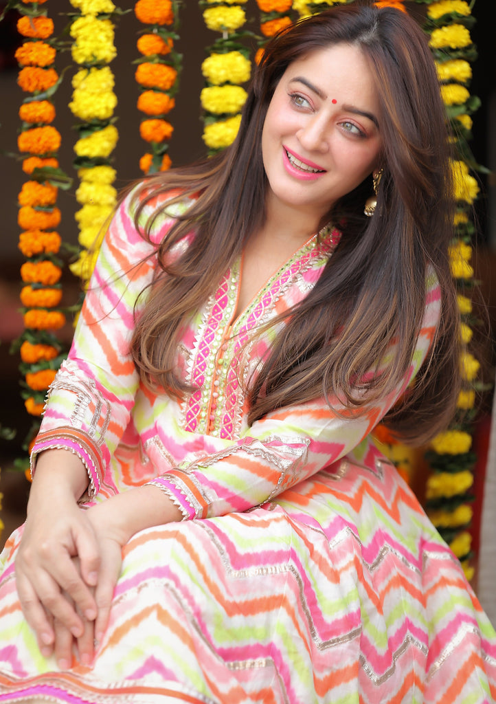 Mahhi Vij In Utsav AG with Dhoti without Dupatta- Pink-Dhoti Set-Gopi Vaid Designs