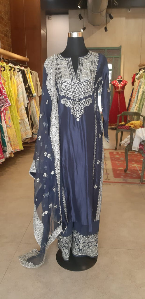 Rati Long Set- Navy-Palazzo Set-Gopi Vaid Designs