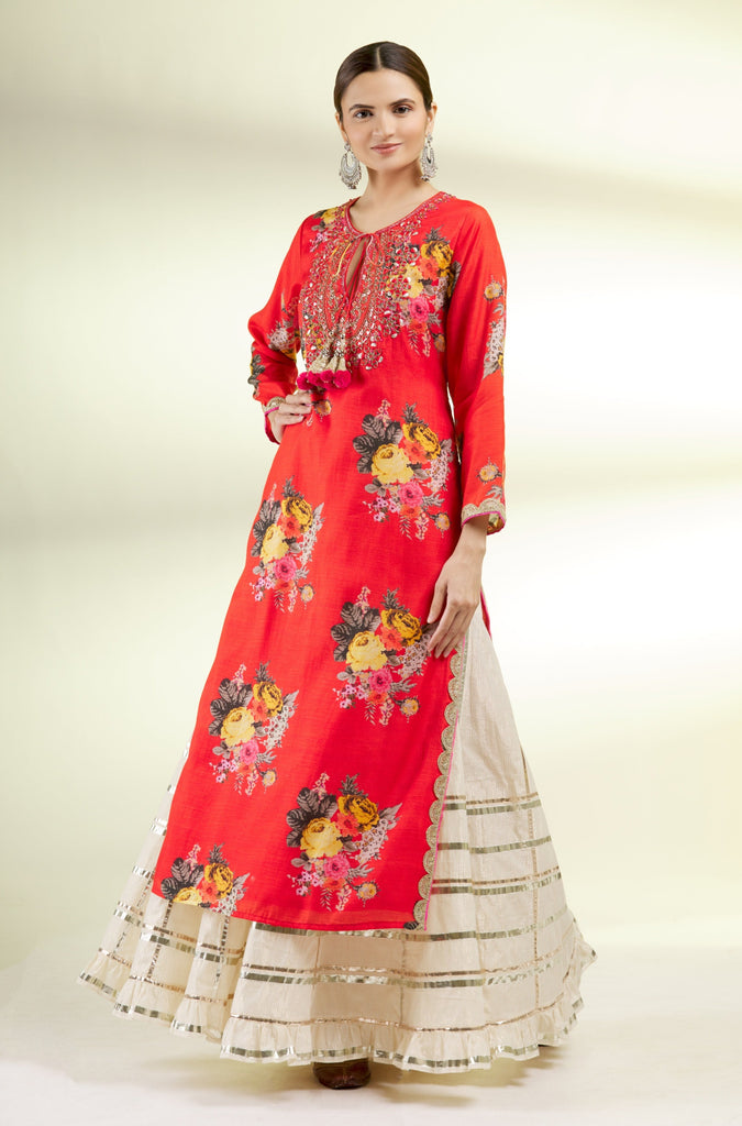 Ahilya Tunic With Sharara- Red-Sharara Set-Gopi Vaid Designs
