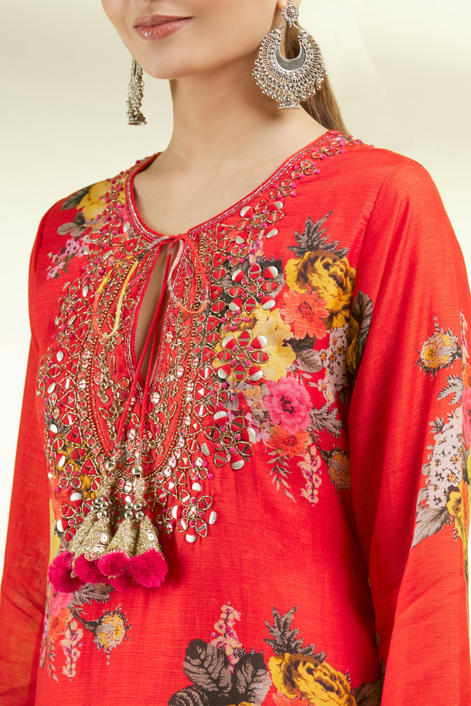 Ahilya Tunic - Red-Sharara Set-Gopi Vaid Designs