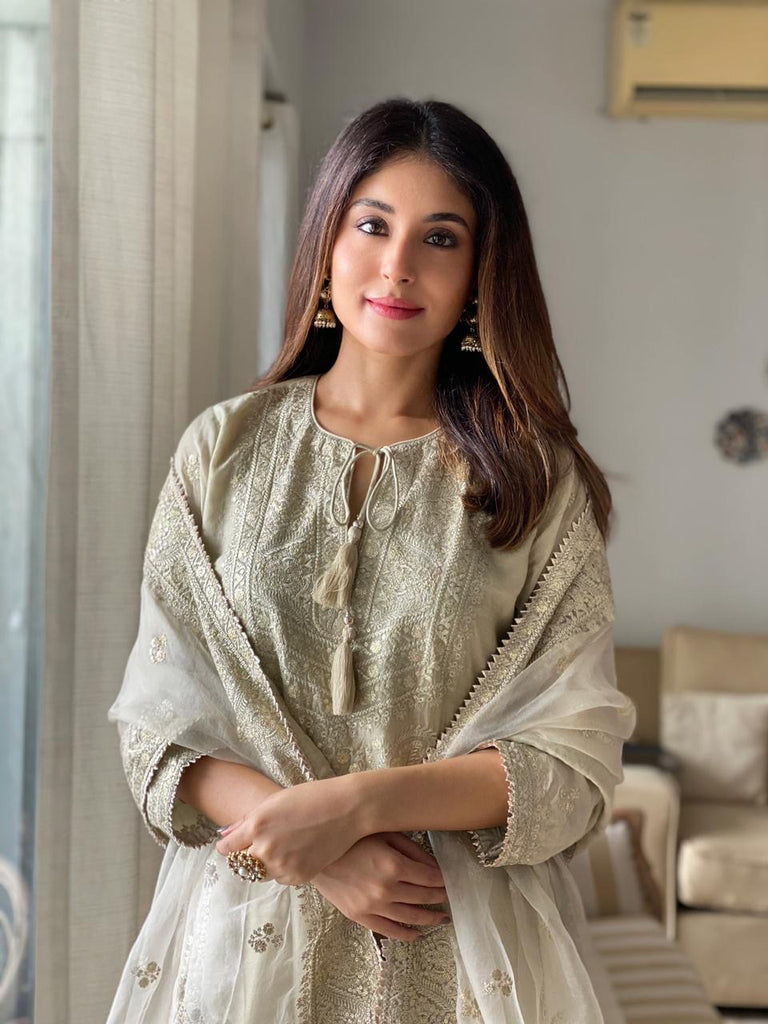 Kritika Kamra in Rati Short Set- Beige-Sharara Set-Gopi Vaid Designs