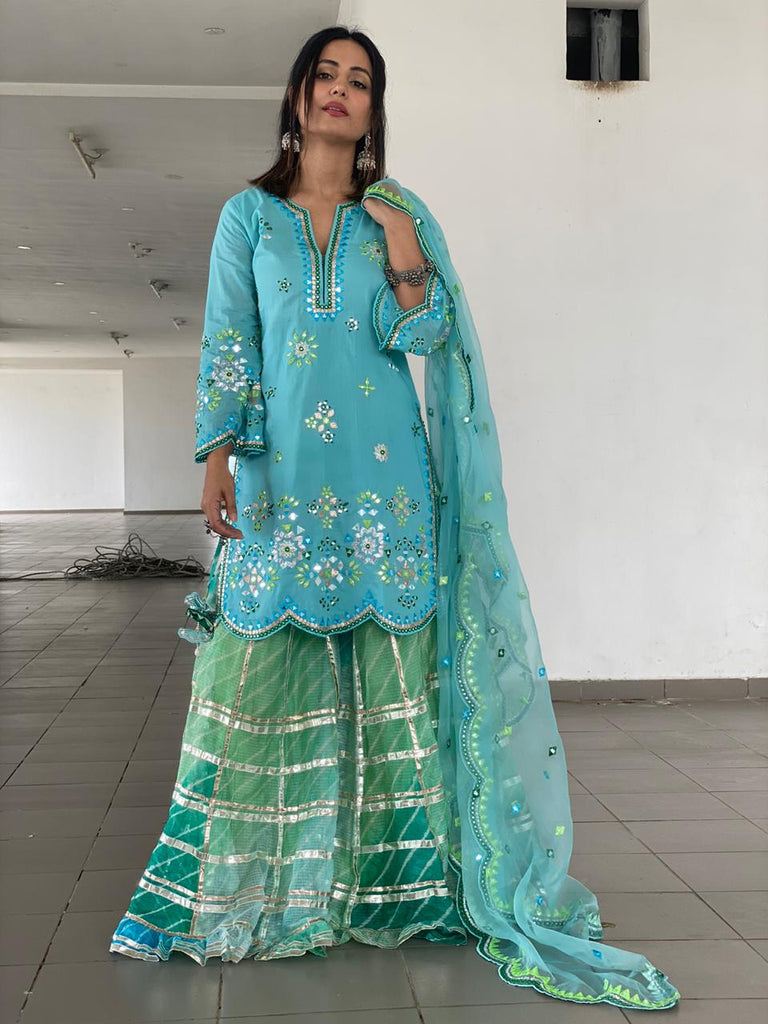 Hina Khan in Mela Sharara Set - Blue-Sharara Set-Gopi Vaid Designs